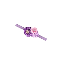 Purple and Pink Flower Baby Girl Elastic Head Band