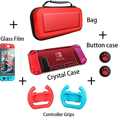 PortableStorage Bag Cover Cases For Nintend Switch Case NS NX Console  Protective Shell Accessories Controller Travel funda (5 kit-Red)