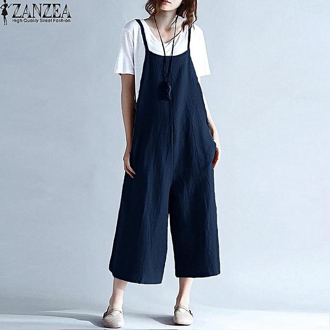 7bc5034c689 ZANZEA Womens Sleeveless Wide Leg Jumpsuits Romper Overalls Summer Ladies  Casual Loose Harem Pants Trousers Plus