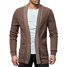 Men's Wool Causal Open Halter Sweaters Fit Knitting Pure Color Long Sleeve Cardigans