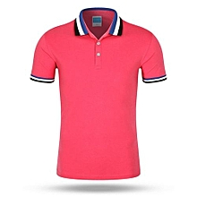 Tipping Collar And Cuff Polo Shirt (Rose Red)