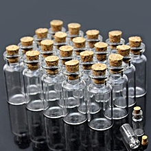 10/20/50/100 Mini 0.5ml Clear Empty Glass Bottle Vial With Cork Stopper 10x18mm