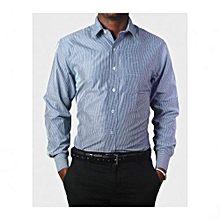 Blue Striped Long Sleeved Mens Shirts