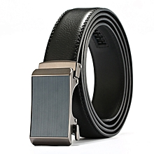 Leather belt men's automatic buckle casual leather belt youth fashion business casual belt-115CM-blue