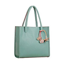 bluerdream-Fashion Girls Handbags Leather Shoulder Bag Candy Color Flowers Totes GN-Green