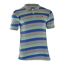 Grey And Green Striped Polo
