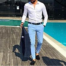 Men's Khaki Pants – Sky Blue Slim-fit Khaki
