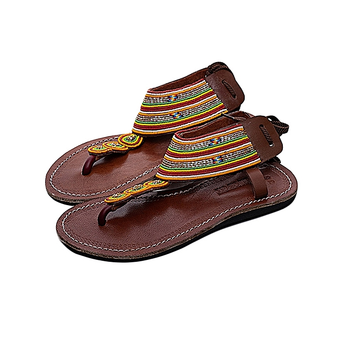 faf2c90f4 Generic Ladies Beaded African Leather Maasai Sandals - Multicolor ...