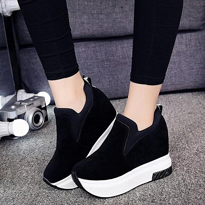 7516de94f7ae1 Women's Platform Hidden Wedge High Heels Ankle Sneakers Walking Casual  Shoes-EU