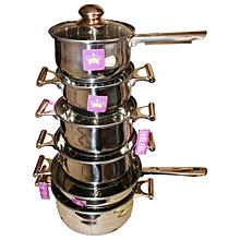 12 piece Stainless Steel Cooking Pots - Silver