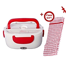 Electric Lunch Box 1.05 Litres - Red & White (+ Free Gift Hand Towel).