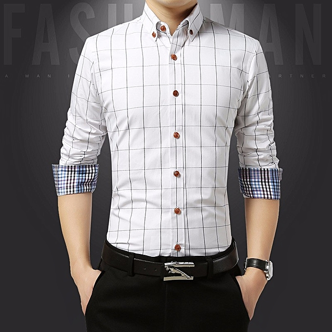 Cotton Slim Fit Check Shirts Men Plaid Business Formal Shirts (White) 83058f2f8
