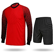 Hot Sale Men's Football Sports Goalkeeper Jersey Long Sleeves Shirts With Shorts-Red(SY11)