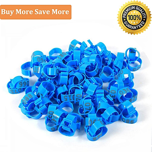 100PCS 16MM 001-100 Numbered Plastic Poultry Chickens Ducks Goose Leg Bands  Rings(Blue)