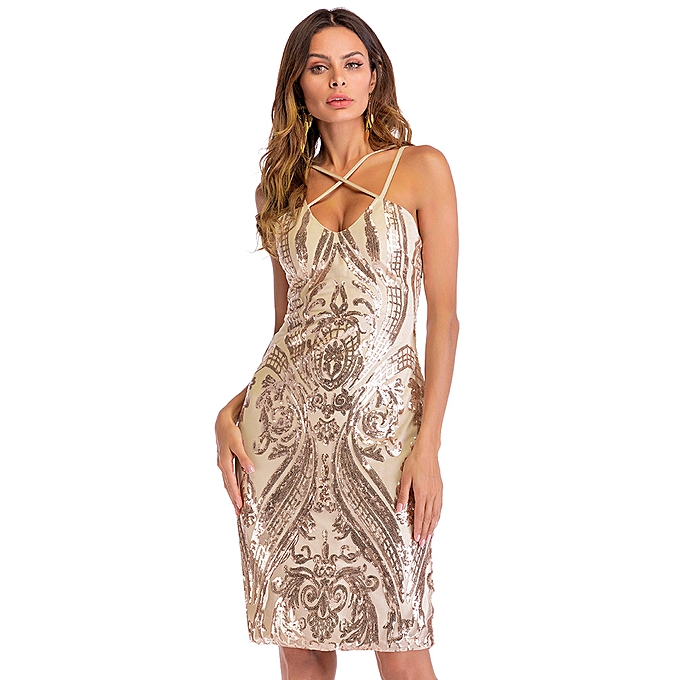 22bcf531ecf Sexy Women Gold Sequin Summer Dress V Neck Backless Luxury Party Club Wear  Midi Bodycon Sundress
