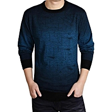Men's Autumn Casual Triangle Ombre Woolen Blend Pullover Crew Neck Sweater Top-Blue.,
