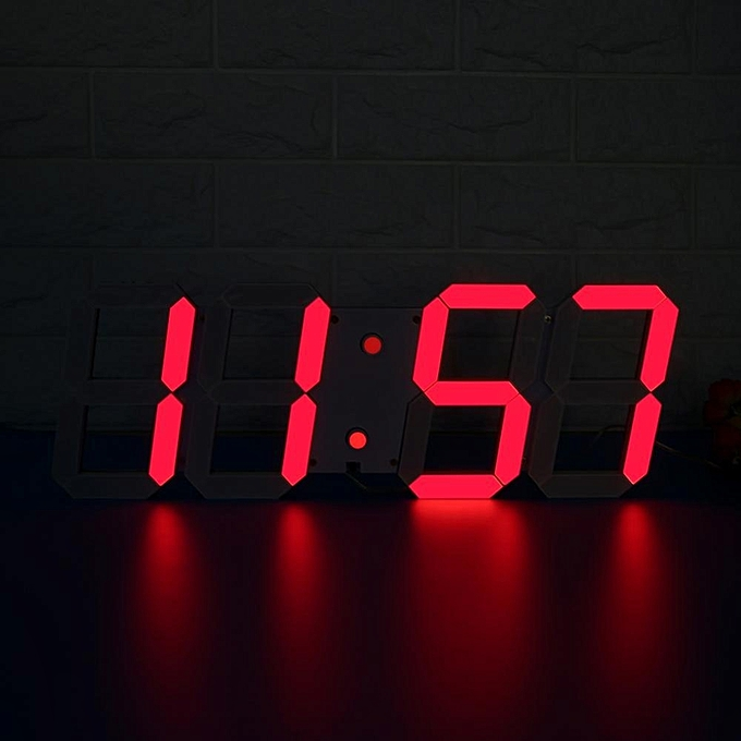 Large Remote Led Digital Wall Clock Electirc Alarm Watch Timer Countdown Thermometer Red