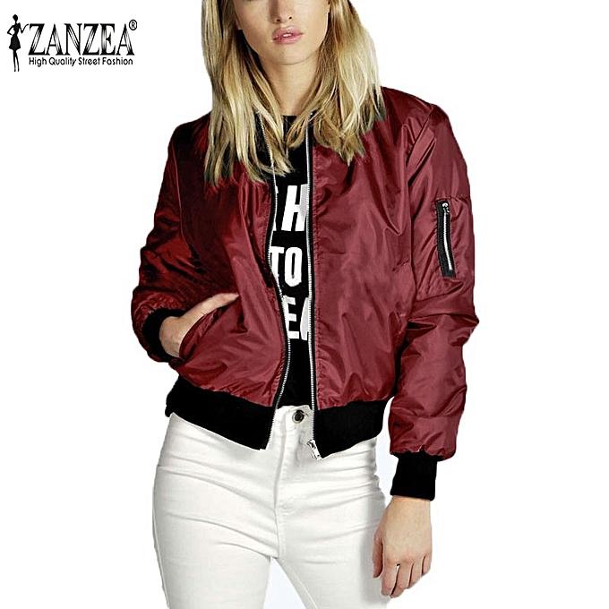 f3adbbd92 ZANZEA Spring Women Celeb Bomber Jacket Long Sleeve Coat Casual Stand  Collar Slim Sport Short Outerwear Burgundy Lightweight Jackets (Wine Red)