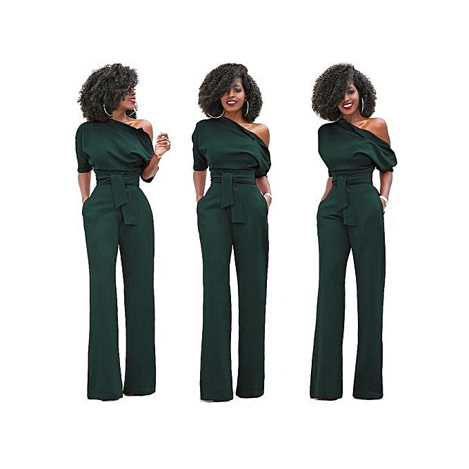 f53c9ed2299 Fashion Women S One Shoulder Solid Jumpsuits Wide Leg Long Romper Pants  With Belt