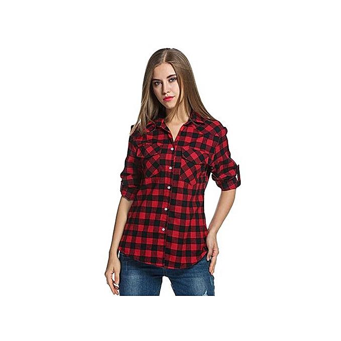 7fdd2f2288 Hiaojbk Store Womens Tartan Plaid Flannel Shirts Roll Up Sleeve Casual Tops  Button Down Blouse-