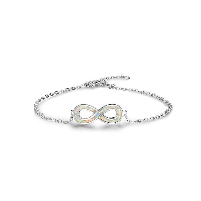 Buy Silverbene Sweet White Infinity Created Opal 925 Silver Bracelet