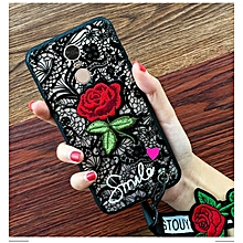 Case For Xiaomi Redmi 5 Plus 5.99 Inch Girls Black White Lace Rose Flower Embroidery Back Cover + Lanyards 878720 (Black)