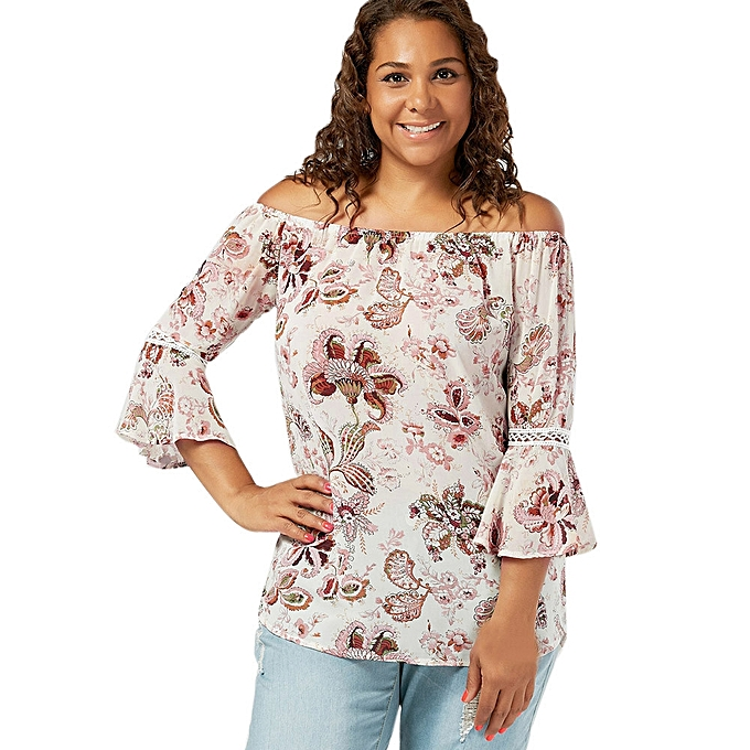 94baf485db3f2 Generic Generic Plus Size Women Floral Print Lace Off Shoulder Flare Sleeve  T-Shirt Tops Blouse A1