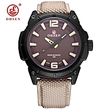 Top Brand OHSEN Fashion Male Military Quartz Watch Men Man Khaki Analog Wristwatches Sports Watch Canvas Leather Strap Relogios