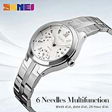 women quartz watch  brand steel watch luxury 6 hands waterproof wristwatches hot business ladies silver watch reloj mujer