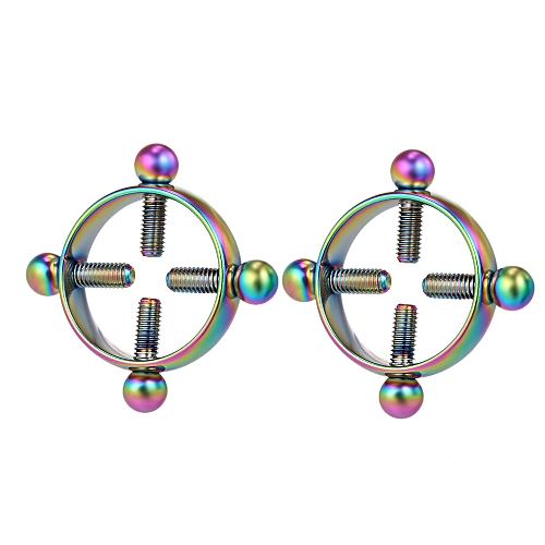 1 Pair of Non-Piercing Adjustable Nipple Rings for Women Circle Nipple  Clamps Stainless Steel Body Decor with Screws