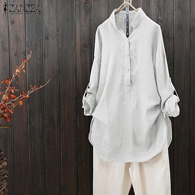 996511aee838e ZANZEA Women Stand Collar Long Fold Sleeve Loose Tops Shirt Ladies Baggy  Blouse