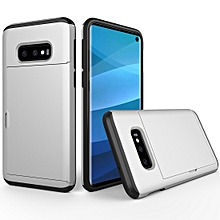 Shockproof Rugged Armor Protective Case for Galaxy S10 Lite, with Card Slot (Silver)