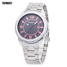 Men Quartz Watch Date Display Water Resistance Wristwatch-SILVER AND RED