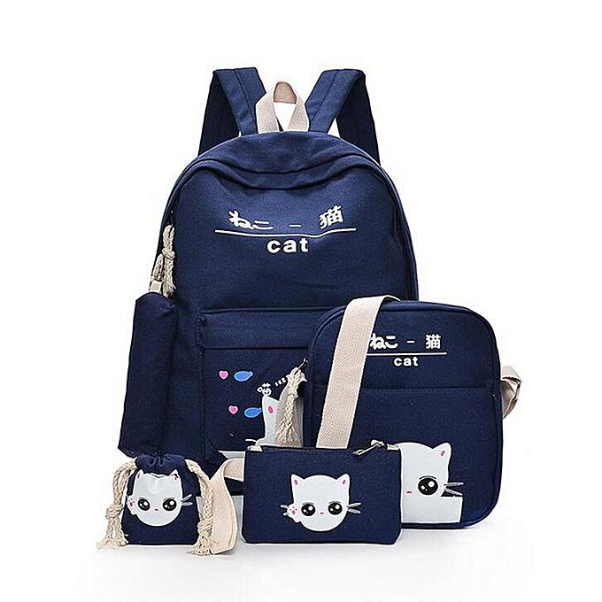 b9f9c5ae10ec Fashion 5Pcs Women Backpack Girl School Bookbag Shoulder Bag Rucksack  Travel Bag 4 Set Kids Canvas
