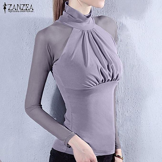 85866b37acb85 ZANZEA Mesh Stretchy Tops Women Sexy See Through Sheer Sleeve Shirt Casual  Long Sleeve Slim Patchwork
