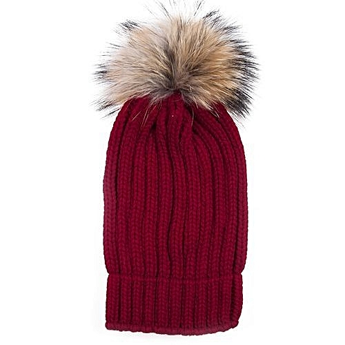 Fashion Girls Raccoon Thickening Beanie Hat - Wine Red   Best Price ... eb74c2a88b6