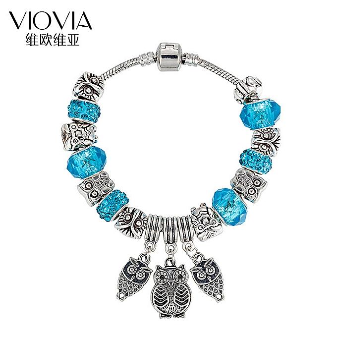 Decorateses The Owl Charm Bracelet Diy Crystal String Bead B