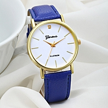 singedanWomen Design Dial Leather Band Analog Geneva Quartz Wrist Watch Blue -Blue
