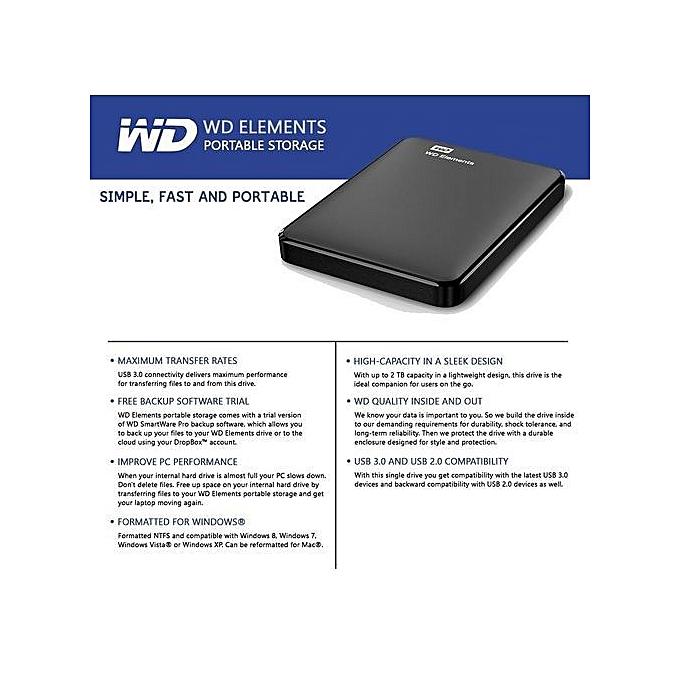 Elements Portable External Hard Drive Disk HD 3TB High Capacity USB 3 0  Storage Device