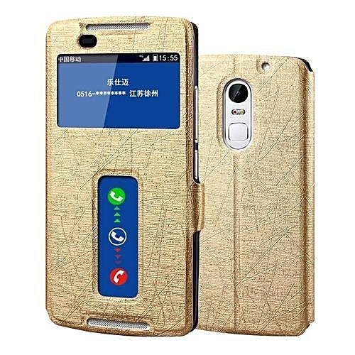 the best attitude f0ea7 ca2c9 Dual View Windows Flip Cover Case For Lenovo Vibe X3 Ultra Thin PU Leather  Phone Bag Case(Gold)