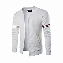 Plus size Men's Hoody Jacket Lightweight Coat Blocked Fleece Jacket-white