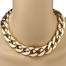 Shiny Link ID Celebrity Style Alloy Choker Necklace Chain -Gold