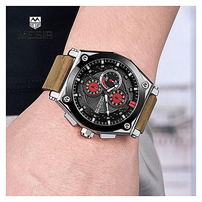 0d8106371bc ... 2098 Megir Men s Retro Quartz Watches Brown Leather Strap Relogio  Masculino Top Brand Luxury Chronograph Wristwatch ...