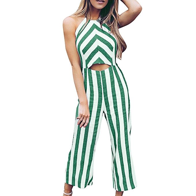 7561cfef114 jiuhap store Women Sleeveless Striped Jumpsuit Casual Clubwear Wide Leg  Pants Outfits-Green