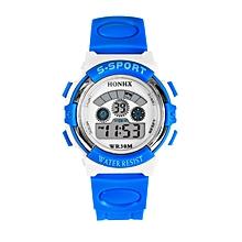 HONHX Africashop Watch  Waterproof Mens Boys LED Digital Quartz Alarm Date Sports Wrist Watch BU-(Blue)