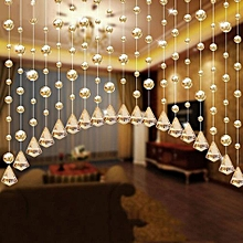 1 Luxury Glass Beads Door String Tassel Curtain Wedding Divider Panel Room Decor - Gold