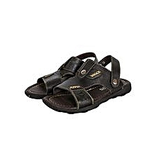 Black Open Sandals With Adjustable Straps At The Back