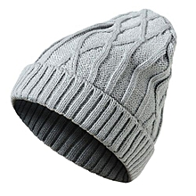 Mens Ladies Knitted Woolly Winter Oversized Slouch Beanie Hat Cap Gray