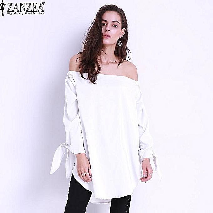 a5138fc711f90c ZANZEA New Summer Women Off Shoulder Blouse Shirt Bow-knot Long Sleeve Tops  Plus Size