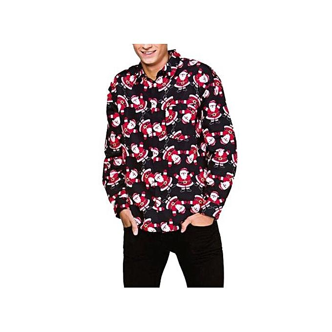 9d73a940 Ranicken Shop Men's Casual Autumn Winter 3D Christmas Print Long Sleeve  Slim Shirt Top Blouse